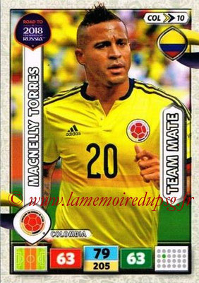 2018 - Panini Road to FIFA World Cup Russia Adrenalyn XL - N° COL10 - Macnelly TORRES (Colombie)