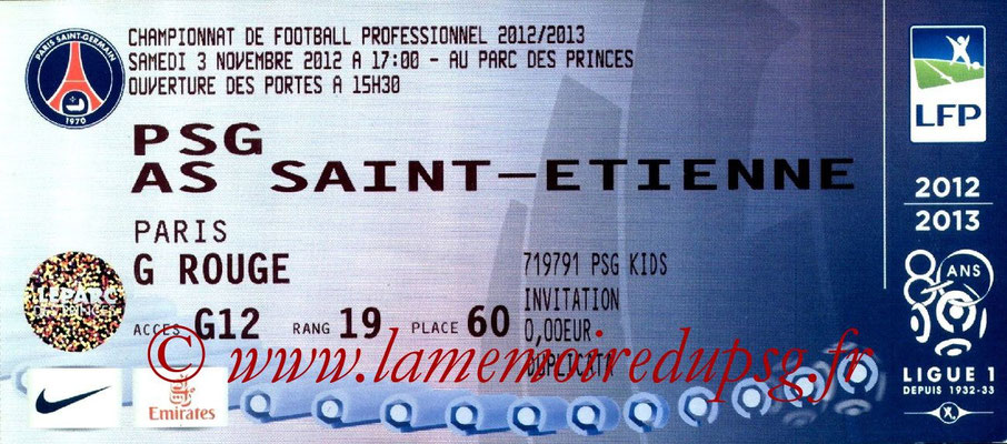 Tickets  PSG-Saint Etienne  2012-13