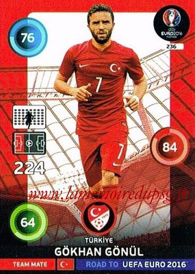 Panini Road to Euro 2016 Cards - N° 236 - Gokhan GONUL (Turquie)