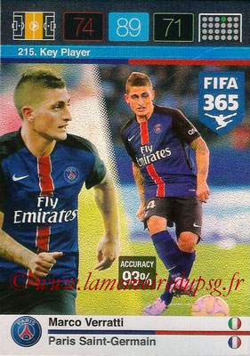 2015-16 - Panini Adrenalyn XL FIFA 365 - N° 215 - Marco VERRATTI (Paris Saint-Germain) (Key Player)