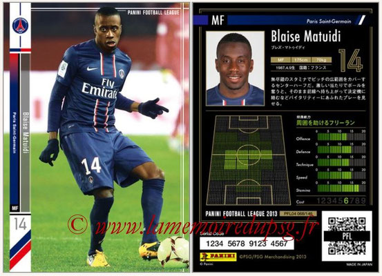 Panini Football League 2013 - PFL04 - N° 068 - Blaise MATUIDI (Paris Saint-Germain)