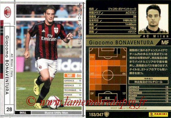 2015-16 - Panini WCCF - N° 153 - Giacomo BONAVENTURA (Milan AC)