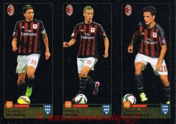 2015-16 - Panini FIFA 365 Stickers - N° 600-601-602 - Riccardo MONTOLIVO + Keisuke HONDA + Giacomo BONAVENTURA (Milan AC)