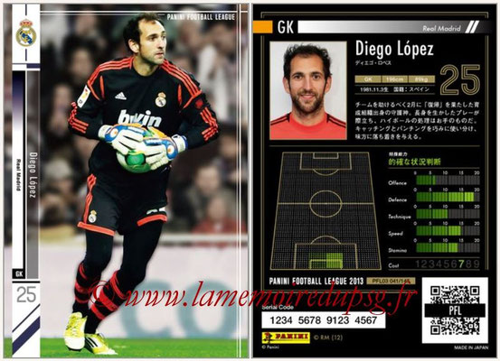Panini Football League 2013 - PFL03 - N° 041 - Diego Lopez (Real Madrid)