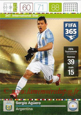 2015-16 - Panini Adrenalyn XL FIFA 365 - N° 347 - Sergio AGUERO (Argentine) (International Star)