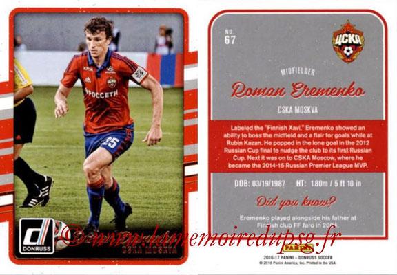 2016 - Panini Donruss Cards - N° 067 - Roman EREMENKO (CSKA Moscou)