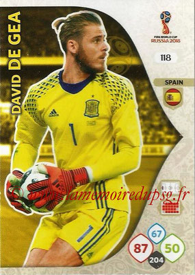 2018 - Panini FIFA World Cup Russia Adrenalyn XL - N° 118 - David DE GEA (Espagne)