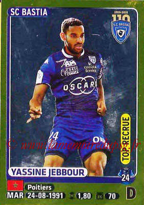 2015-16 - Panini Ligue 1 Stickers - N° 072 - Yassine JEBBOUR (SC Bastia) (Top recrue)
