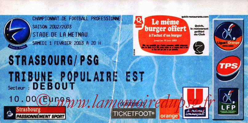 Tickets  Strasbourg-PSG  2002-03