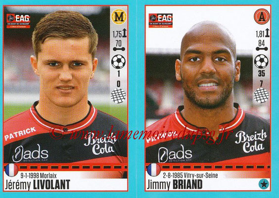 2016-17 - Panini Ligue 1 Stickers - N° 248 + 249 - Jérémy LIVOLANT + Jimmy BRIAND (Guingamp)