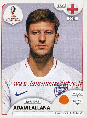 2018 - Panini FIFA World Cup Russia Stickers - N° 586 - Adam LALLANA (Angleterre)