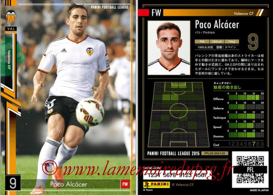 Panini Football League 2015 - PFL09 - N° 054 - Paco ALCACER (FC Valence)