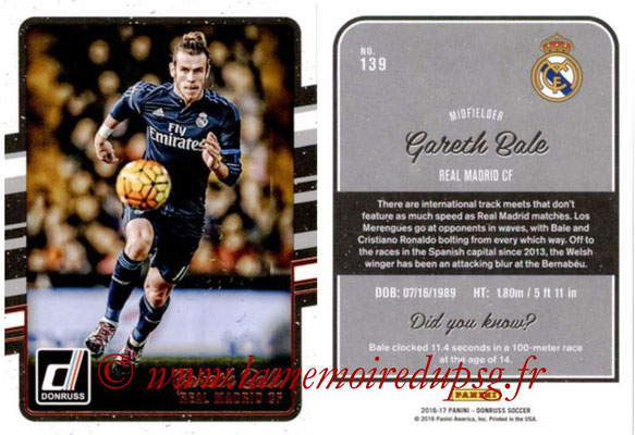 2016 - Panini Donruss Cards - N° 139 - Gareth BALE (Real Madrid CF)