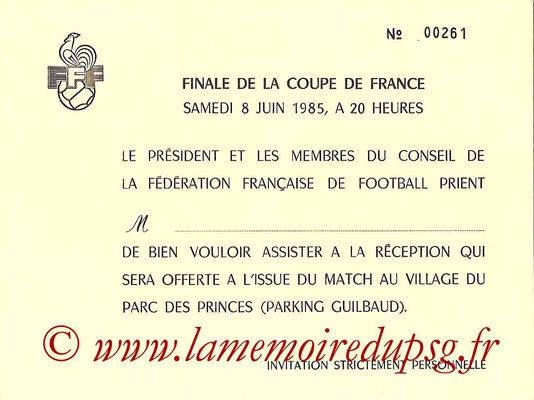 Invitation  PSG-Monaco  1984-85