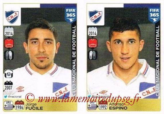 2015-16 - Panini FIFA 365 Stickers - N° 796-797 - Jorge FUCILE + Alfonso ESPINO (Club Nacional de Football)