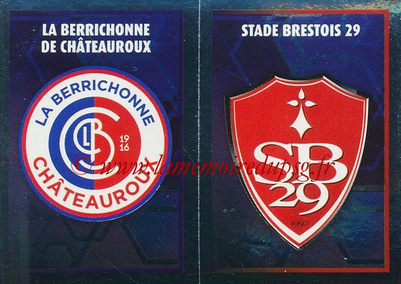 2017-18 - Panini Ligue 1 Stickers - N° 547 - Ecussons Stade Brestois 29 + Châteauroux