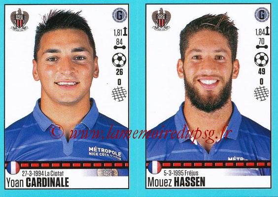 2016-17 - Panini Ligue 1 Stickers - N° 650 + 651 - Yoan CARDINALE + Mouez HASSEN (Nice)