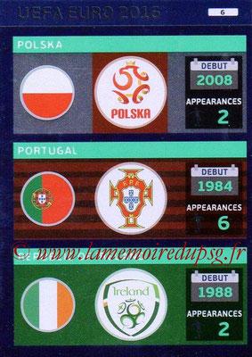 Panini Euro 2016 Cards - N° 006 - Equipes Pologne + Portugal + République d'Irlande