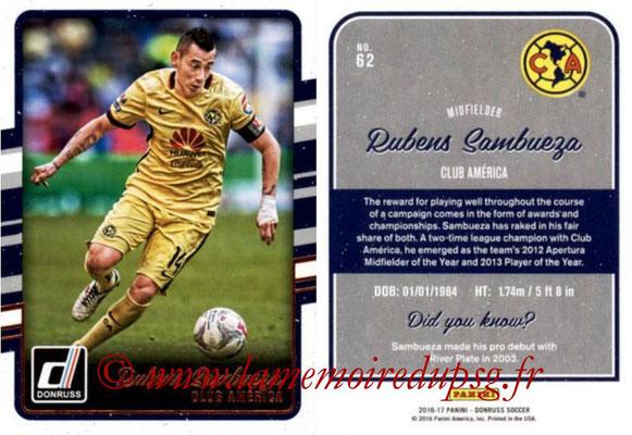 2016 - Panini Donruss Cards - N° 062 - Rubens SAMBUEZA (Club América)