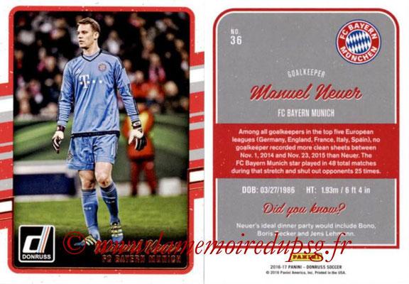 2016 - Panini Donruss Cards - N° 036 - Manuel NEUER (FC Bayern Munich)