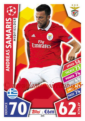2017-18 - Topps UEFA Champions League Match Attax - N° 205 - Andreas SAMARIS (SL Benfica)