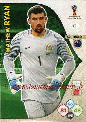 2018 - Panini FIFA World Cup Russia Adrenalyn XL - N° 019 - Mathew RYAN (Australie)