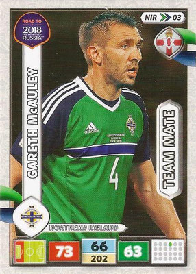 2018 - Panini Road to FIFA World Cup Russia Adrenalyn XL - N° NIR03 - Gareth MacAULEY (Irlande du Nord) (UK Version)