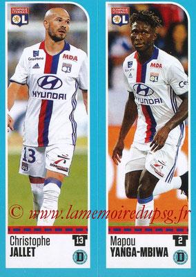 2016-17 - Panini Ligue 1 Stickers - N° 346 + 347 - Christophe JALLET + Mapou YANGA-MBIAWA (Lyon)
