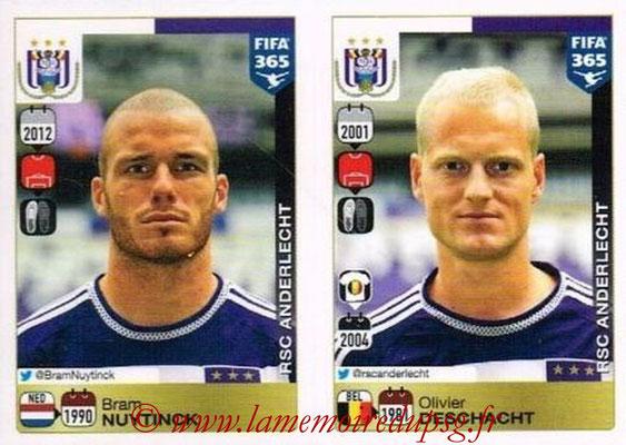 2015-16 - Panini FIFA 365 Stickers - N° 136-137 - Bram NUYTINCK + Olivier DESCHACHT (RSC Anderlecht)