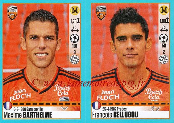 2016-17 - Panini Ligue 1 Stickers - N° 324 + 325 - Maxime BARTHELME + François BELLUGOU (Lorient)