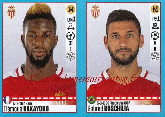 2016-17 - Panini Ligue 1 Stickers - N° 494 + 495 - Tiémoué BAKAYOKO + Gabriel BOSCHILIA (Monaco)