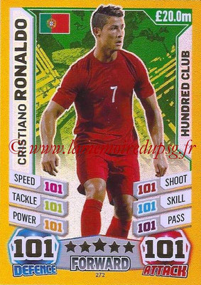 Topps Match Attax England 2014 - N° 272 - Cristiano RONALDO (Portugal) (Club des 100)