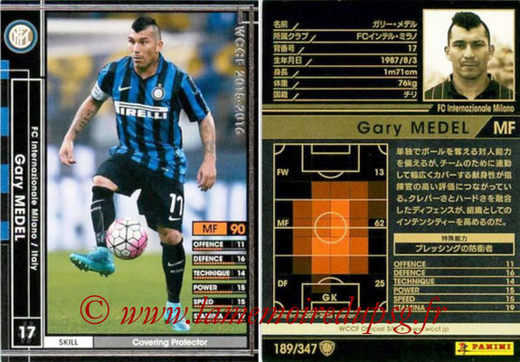 2015-16 - Panini WCCF - N° 189 - Gary MEDEL (FC Inter Milan)