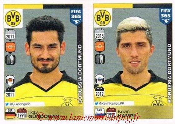2015-16 - Panini FIFA 365 Stickers - N° 515-516 - Ilkay GÜNDOGAN + Kevin KAMPL (Borussia Dortmund)