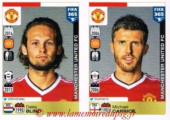 2015-16 - Panini FIFA 365 Stickers - N° 320-321 - Daley BLIND + Michael CARRICK (Manchester United FC)