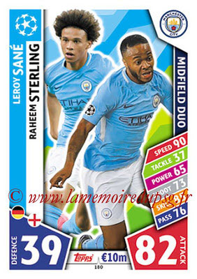 2017-18 - Topps UEFA Champions League Match Attax - N° 180 - Leroy SANE + Raheem STERLING (Manchester City FC). (Midfield Duo)