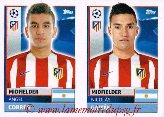 2016-17 - Topps UEFA Champions League Stickers - N° ATL 14-15 - Nicolas GAITAN + Angel CORREA (Club Atletico de Madrid)