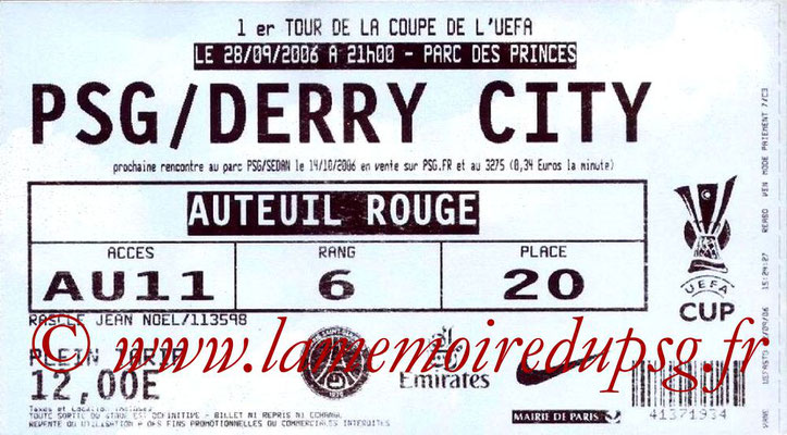 Tickets  PSG-Derry City  2006-07