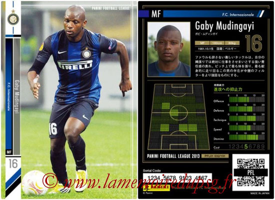 Panini Football League 2013 - PFL01 - N° 032 - Gaby Mudingayi ( F.C. Internazionale )