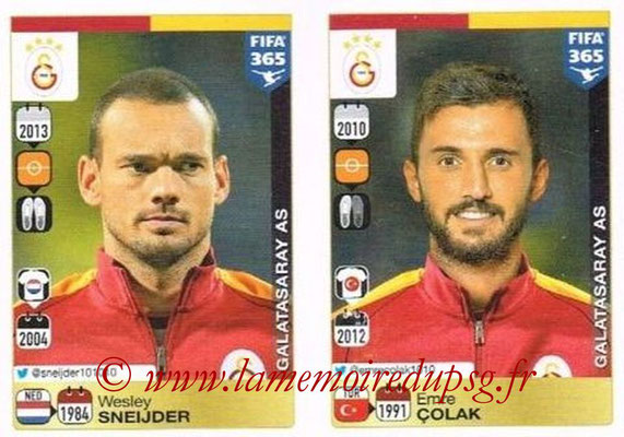 2015-16 - Panini FIFA 365 Stickers - N° 785-786 - Wesley SNEIJDER + Emre COLACK (Galatasaray AS)