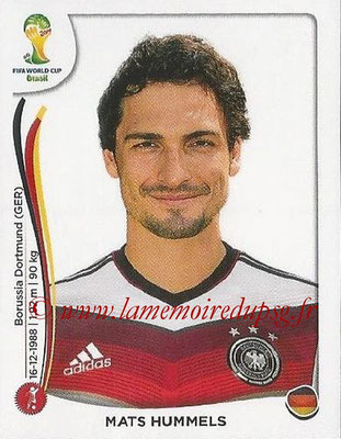 2014 - Panini FIFA World Cup Brazil Stickers - N° 494 - Mats HUMMELS (Allemagne)