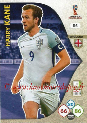 2018 - Panini FIFA World Cup Russia Adrenalyn XL - N° 115 - Harry KANE (Angleterre)