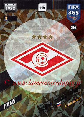 2017-18 - Panini FIFA 365 Cards - N° 316 - Logo Spartak Moscou (Club Badge)