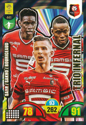 2018-19 - Panini Adrenalyn XL Ligue 1 - N° 441 - Ismaïla SARR + Diafra SAKHO + Benjamin BOURIGEAUD (Rennes) (Trio Infernal)