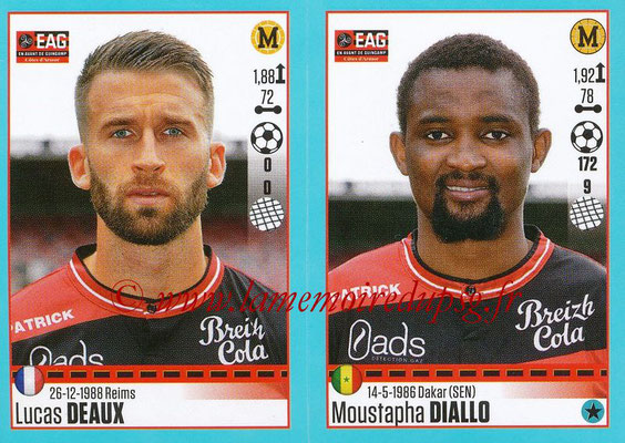 2016-17 - Panini Ligue 1 Stickers - N° 244 + 245 - Lucas DEAUX + Moustapha DIALLO (Guingamp)