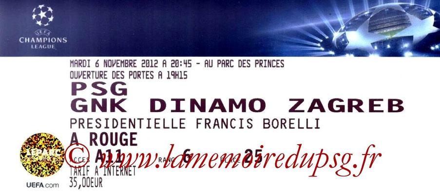 Tickets  PSG-Dinamo Zagreb  2012-13