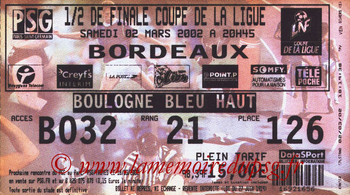 Tickets  PSG-Bordeaux  2001-02