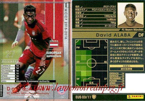 2015-16 - Panini WCCF - N° EUS03 - David ALABA (FC Bayern Munich) (European Superstars)