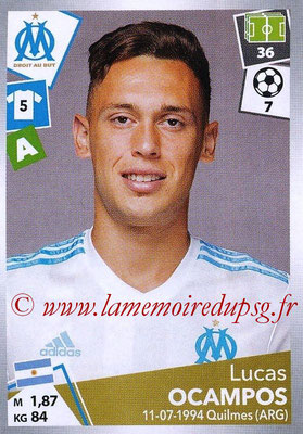 2017-18 - Panini Ligue 1 Stickers - N° 225 - Lucas OCAMPO (Marseille)