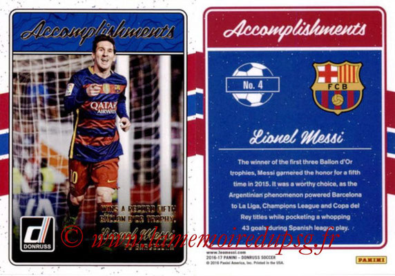 2016 - Panini Donruss Cards - N° A04 - Lionel MESSI (FC Barcelone) (Accomplishments)